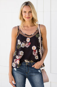 Floral Mesh Inset Camisole