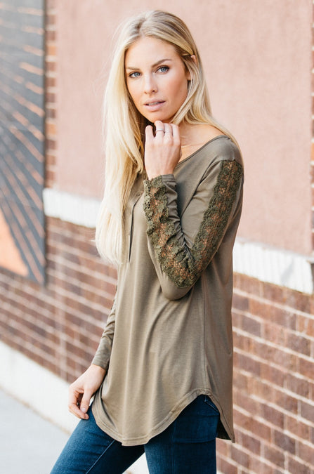 Lace Sleeve Panel Henley - Amaryllis Land