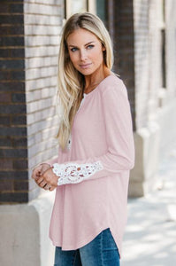 Contrast Lace Henley