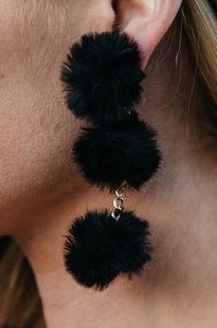Triple Pom Pom Drop Earrings - Amaryllis Land