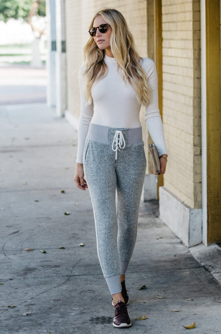 Cozy Football Lace Up Joggers - Amaryllis Land