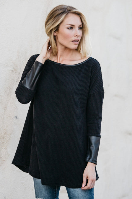 Faux-Leather Sleeve Tunic - Amaryllis Land