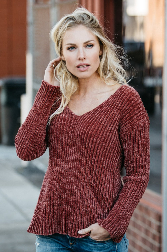 Cross-Back Chenille Sweater - Amaryllis Land