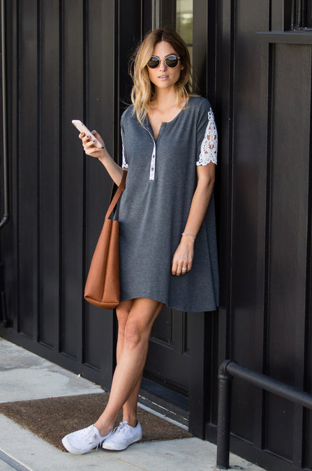 Contrast Lace Sleeve Henley Dress - Amaryllis Land