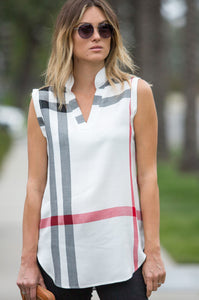Polished Playful Plaid Sleeveless Shirt - Amaryllis Land