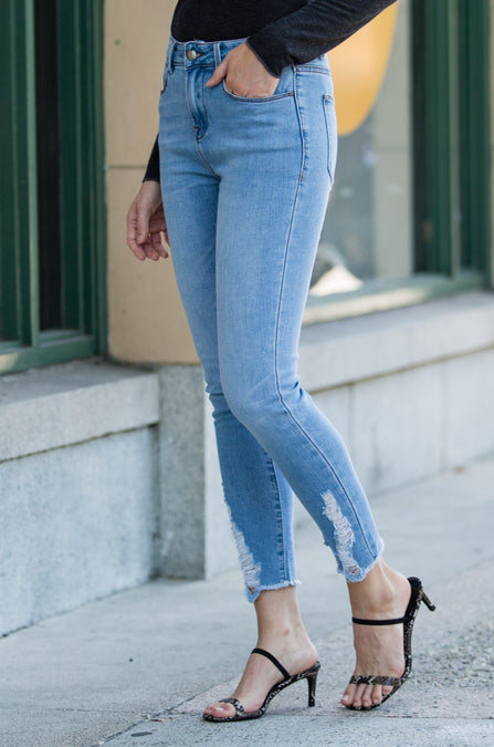 Joyce Ankle Distressed Denim - Amaryllis Land