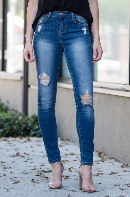 Katy Distressed Cuff Denim - Amaryllis Land