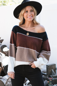 Coffee Chat Color Block Sweater