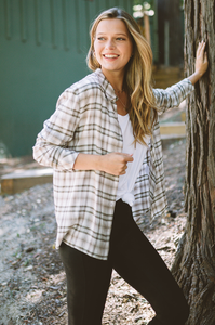 Honey Oat Button Down Plaid