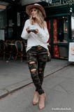 Kara Distressed Muted Camo Skinny Jeans - Amaryllis Land