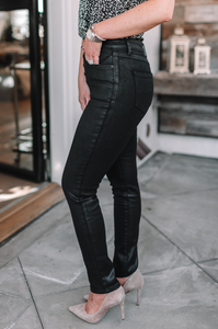 Sleek and Chic Coated Denim