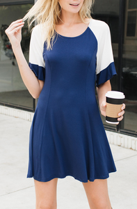 Colorblocked Flutter Sleeve Cotton Dress