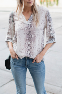 Python Notch Neck Top - Amaryllis Land