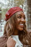 Bordeaux Leather Beret