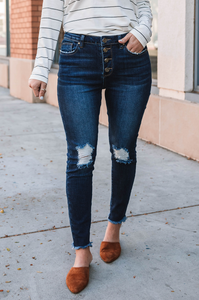 Ashlee Button Fly Distressed Denim (Backorder Until 11/20)