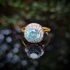 Antique Blue Zircon and Diamond Cluster Ring