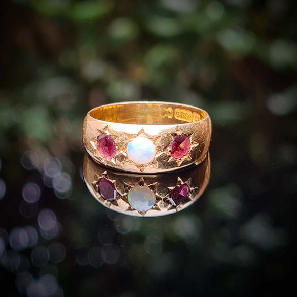 Antique Opal and Garnet Wide Ring