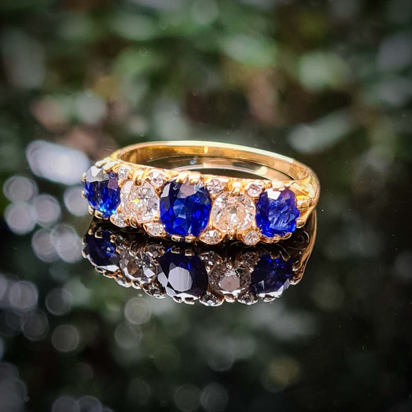 Antique Sapphire and Diamond Five Stone Ring