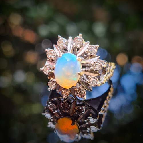 Vintage Opal and Diamond Ring