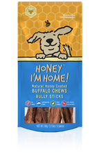 Load image into Gallery viewer, Honey I'm Home Natural Honey Coated Bully Sticks Buffalo Dog Chews