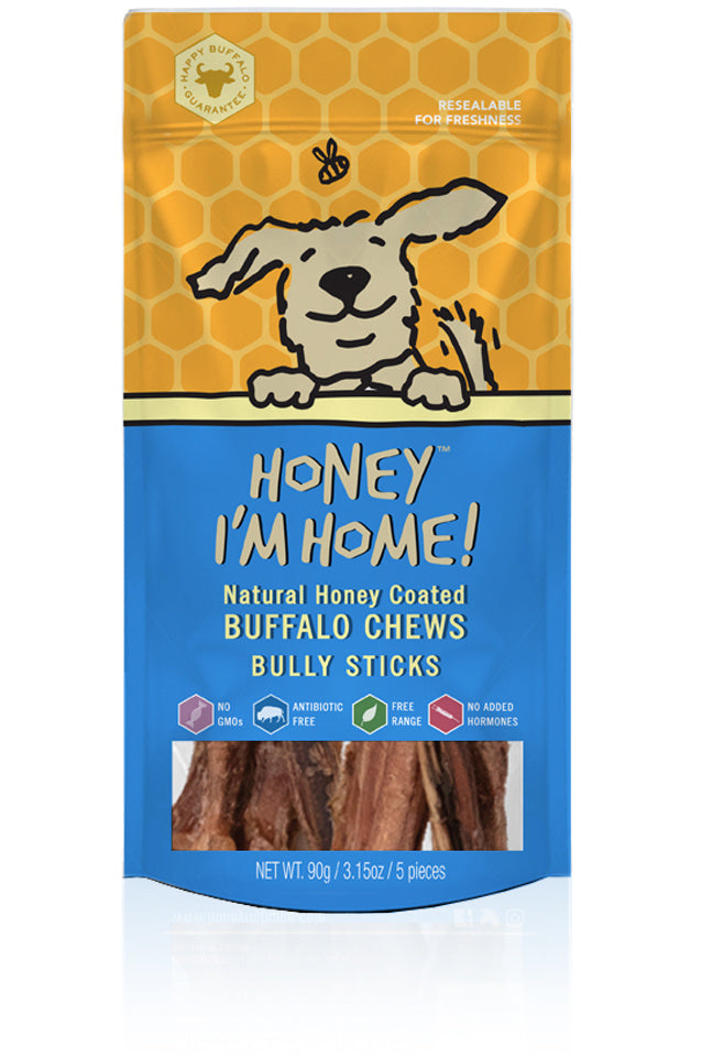 Honey I'm Home Natural Honey Coated Bully Sticks Buffalo Dog Chews