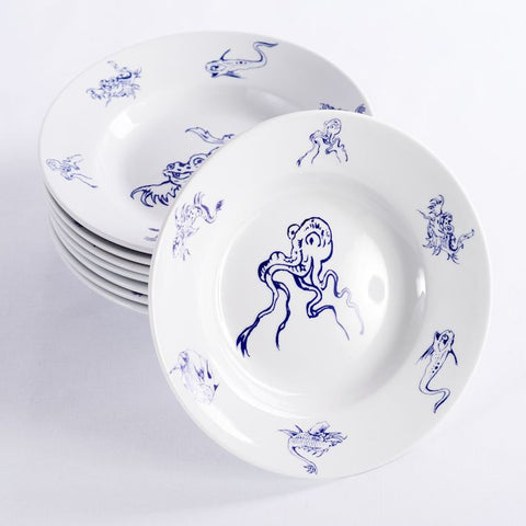 A set of 8 Sea Creature soup or pasta plates