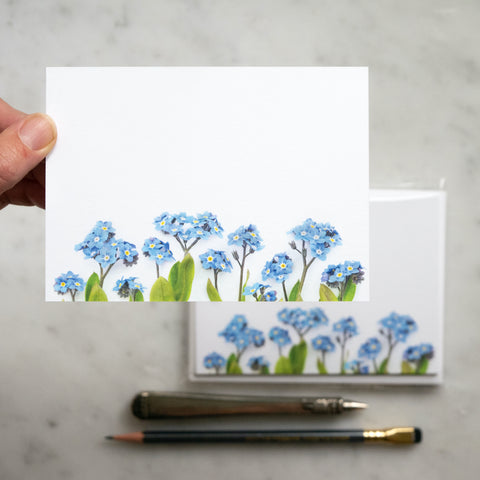 Flat card set - Forget-me-not flowers blue flowers