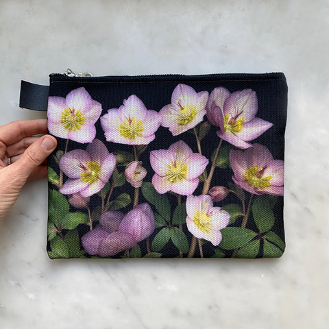 Botanical Bag ~ pink Hellebores
