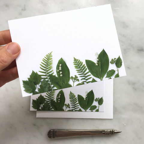 Flat card set - Lily of the Valley, ferns