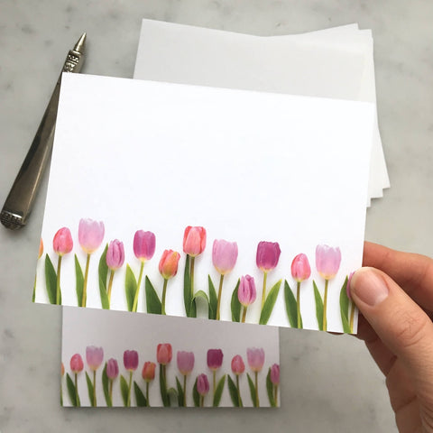 Flat card set - pink tulips