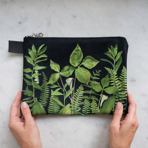 Botanical Bag ~ Greenery on Black