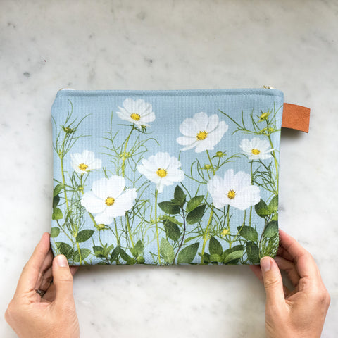 Botanical Bag ~ Cosmos flowers on Blue
