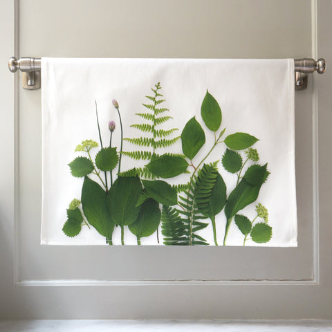 Botanical Tea Towel ~ Greenery with fern ~ kitchen towel ~ hand towel
