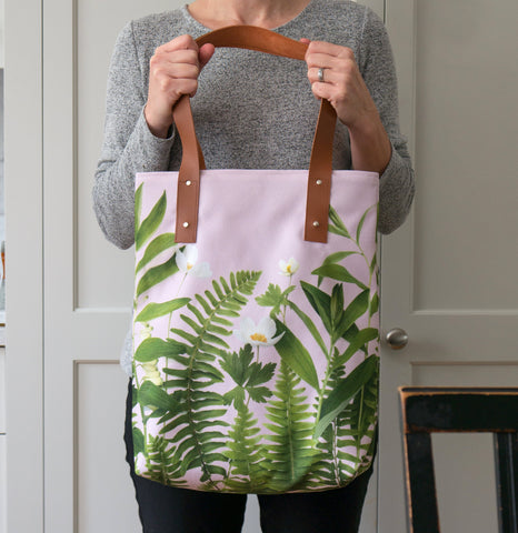 Floral Tote Bag - greenery on pink