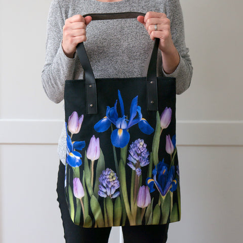 Floral Tote Bag - iris and spring flowers