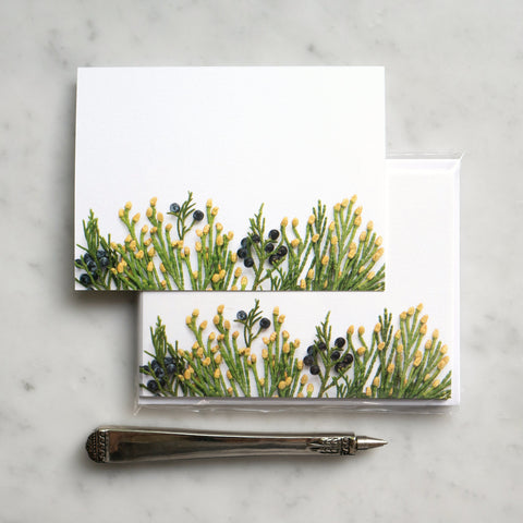 Flat card set ~ juniper and cedar, evergreens
