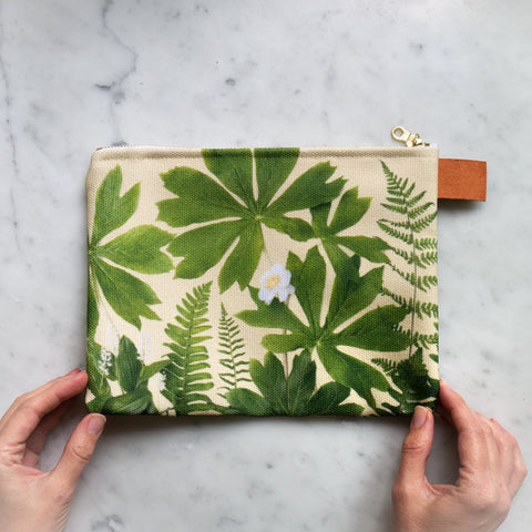 Botanical Bag ~ Mayapples and ferns on yellow
