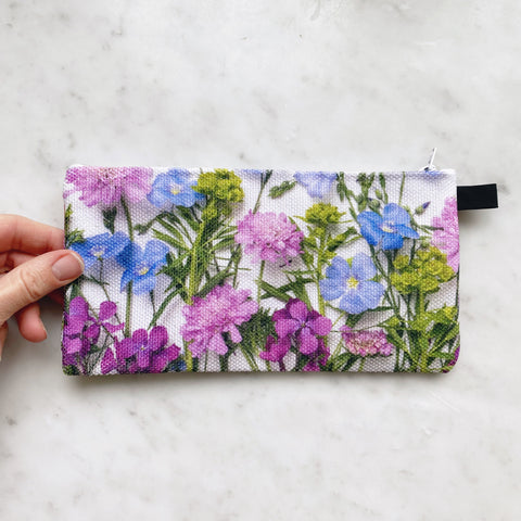 Botanical Bag ~ Blue Flax and Pink Scabiosa