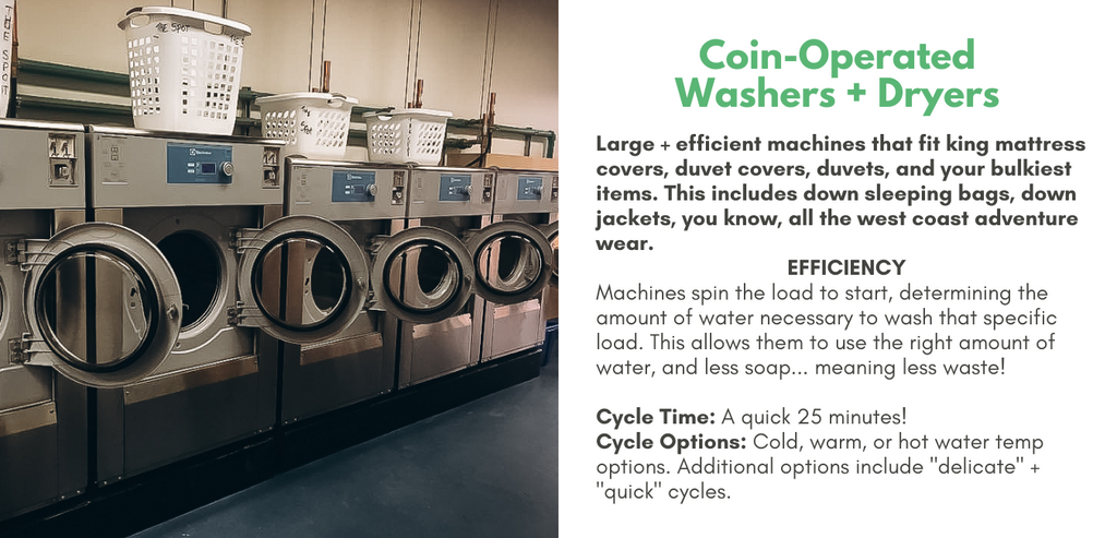 Coin-Operated Washers + Dryers: large + efficient machines that fit king mattress covers, duvet covers, duvets, and your bulkiest items. This includes down sleeping bags, down jackets, you know, all the west coast adventure wear.