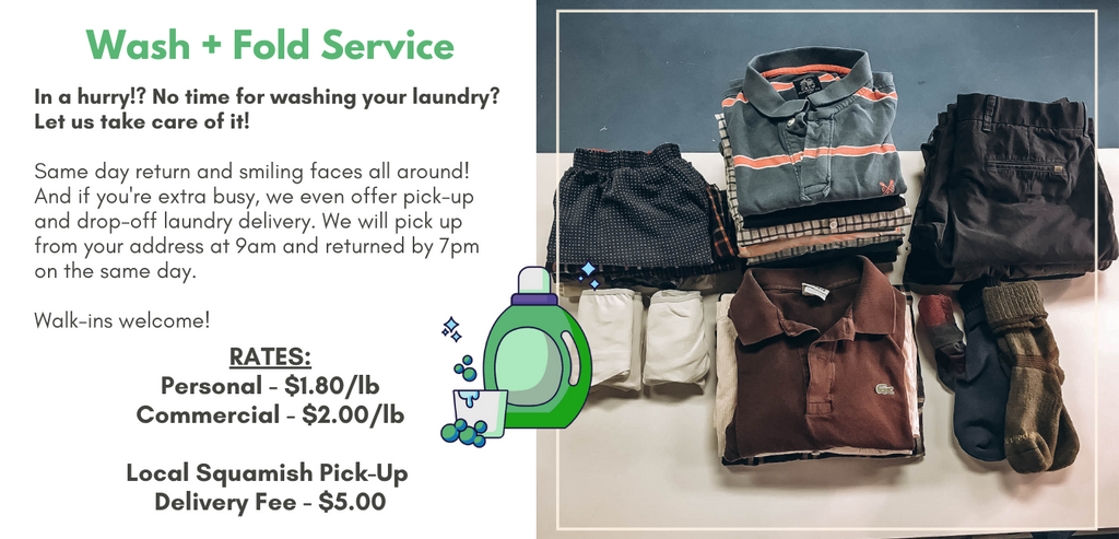 In a hurry!? No time for washing your laundry? Let us take care of it!  Same day return and smiling faces all around! And if you're extra busy, we even offer pick-up and drop-off laundry delivery. We will pick up from your address at 9am and returned by 7pm on the same day. Walk-ins welcome!