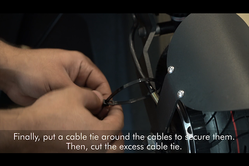 Finally, put a cable tie around the cables.
