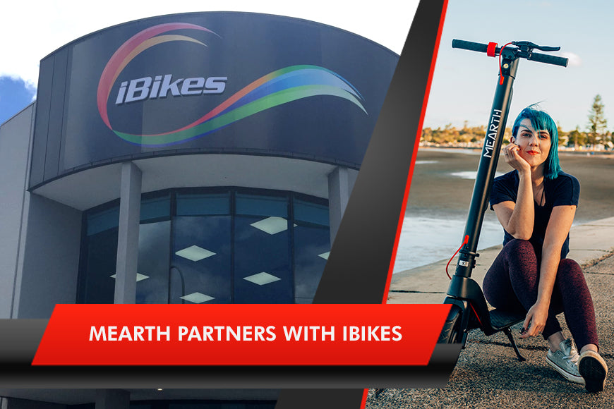 Image of iBikes logo and a woman sittig on the deck of a Mearth electric scooter