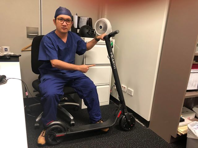 Image of a healthcare worker with a Mearth scooter
