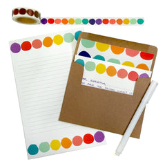 beve Rainbow Dot Writing Set and Washi Tape