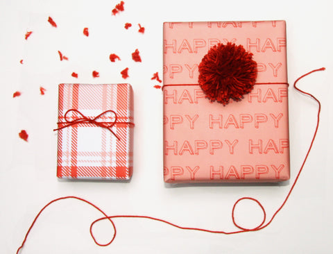 beve gift wrap sheets happy pink red plaid