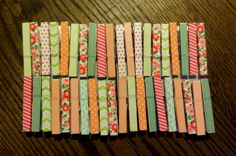 washi taped clothespins