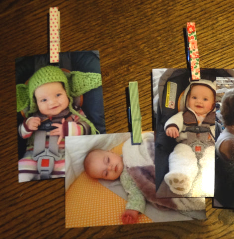 washi clothes pin photo wall