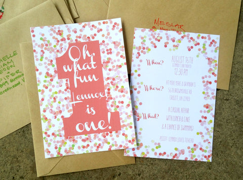 Pink, red and green confetti dot invitations Oh what fun baby is one!