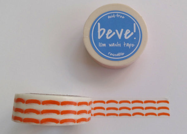 "Yellow topstitch washi tape is a beve original design and is great for ""stitching"" in photos and memorabilia into scrapbooks!"