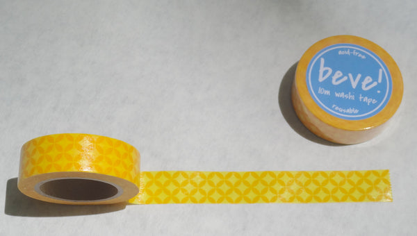 Yellow and orange petal pattern washi tape is a beve original!